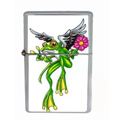 Frog Peace Angel Flower Tattoo Wind Proof Dual Torch Refillable Lighter D-173