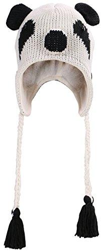 Fun Animal Knitted Winter Beanie Hat w/ Ear Flaps Costume Accessory, Panda]()