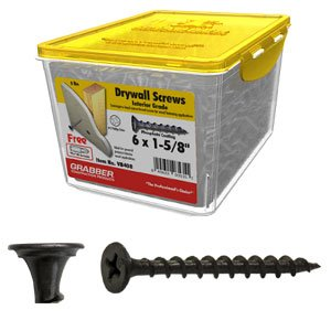 GRABBER 6 x 1-5/8'' Coarse Drywall Screw, Scavenger Head - 5 Lbs. by GRABBER Construction Products, Inc.