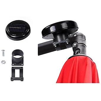 AMPERSAND SHOPS AMPERSAND 10-Ft Warm White 8-Rib Offset Patio Umbrella Solar String Lights