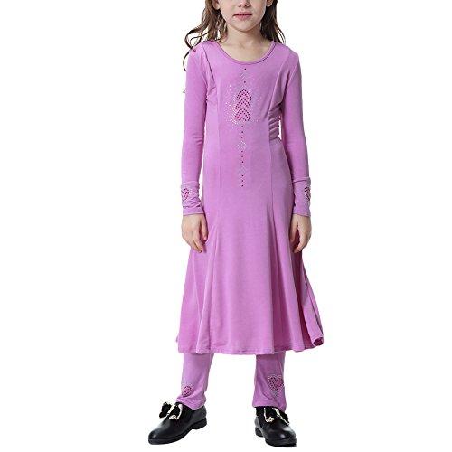 Arab Dance Girl (Kids 2pcs Muslim Islamic Girl's Abaya Burka Arab Prayer Dress Robe+Long Pants Leggings Outfits Dance Clothes Set Purple 6-7)