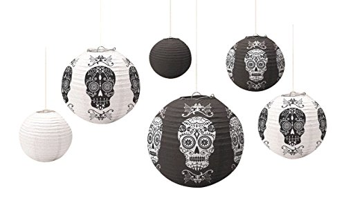 Day Of The Dead Party Decor (Amscan Day of the Dead Halloween Party Sugar Skull Round Hanging Lantern (Pack of 6), Black/White, 11 3/4