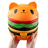 Giant Squishy Toy Soft Jumbo Slow Rising Squishies Collection Gift Decor Stress Reliever (Cat Burger)