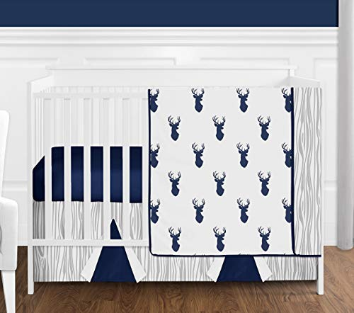 Navy Blue White and Gray Woodland Deer Print Boy Baby Bedding 4 Piece Crib Set Without Bumper