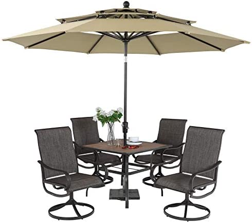 PHI VILLA 5 Piece Swivel Patio Dining Set
