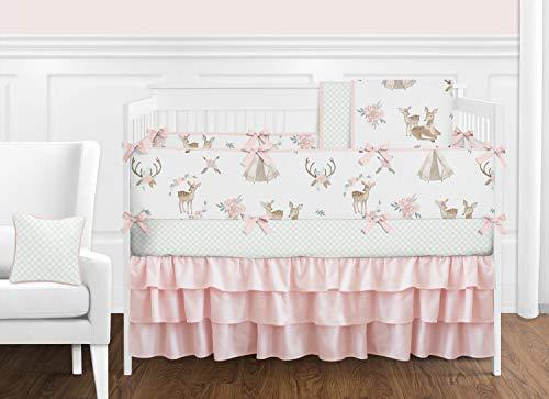 Sweet Jojo Designs Blush Pink, Mint Green and White Boho Watercolor Woodland Deer Floral Baby Girl Crib Bedding Set with Bumper - 9 Pieces
