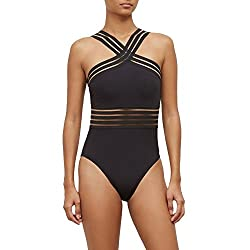 Kenneth Cole New York Women S High Neck Cross Front Banded One Piece Swimsuit Black Stompin In My Stiletto S Medium