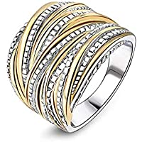 خاتم زفاف مجدول ومتشابك للنساء والرجال، معززات خاتم مطلي بالذهب والفضة