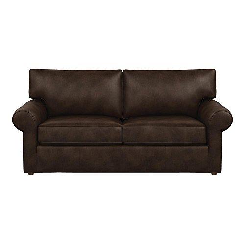Amazon Com Ethan Allen Retreat Roll Arm Leather Sofa 77 Quot Sofa Omni Brown Top Grain Leather