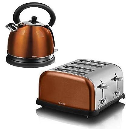 Swan Copper 1.7L Bullet Kettle /& 4 Slice Toaster Set Kitchen Appliances