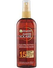Garnier Ambre Solaire Olio Protettivo, Abbronzatura Dorata, Uniforme, Formula Arricchita con Burro di Karité, IP15, 150 ml, Confezione da 1