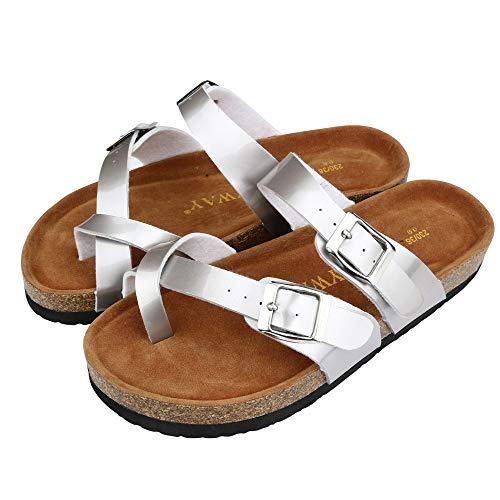 Kauneus  Women's Toe Ring Cork Sandal/Classic Ladies Sandal/Flat Footed Dual Adjustable Buckle/Breathable Open Toe Slide Silver