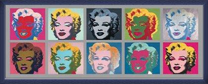 ポスター アンディ ウォーホル Ten Marilyns 1967 額装品 ウッドベーシックフレーム(ブルー) B071GKZ9P4 ブルー ブルー