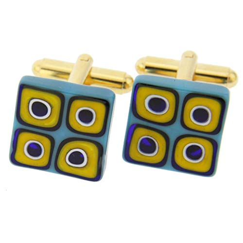 Glass Millefiori Square Cufflinks - Aqua Mosaic ()