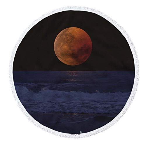 Mugod Full Moon Round Beach Towel Romantic Harvest Moon Rising Over Water Decor Beach Round Towel Blanket with Tassel Multi-Purpose Soft Absorbent Bath Towels 63 Inches