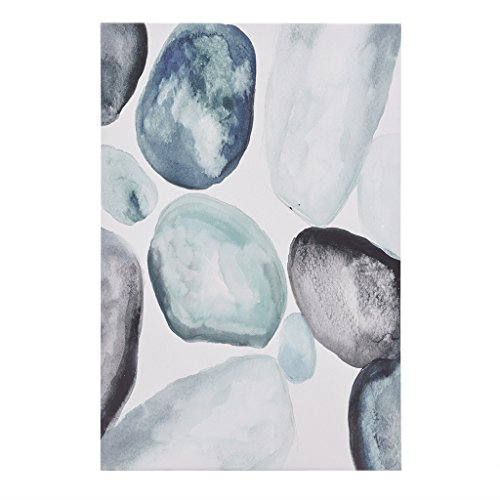 Madison Park Pebbles Wall Art - Geo Rocks Shapes Hand Embellished Artwork Print Modern Abstract Canvas Painting Deco Box Living Room Décor, Blue