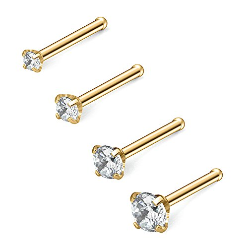 Ruifan 4PCS 18G 316L Surgical Steel 1.5mm 2mm 2.5mm 3mm Clear Round Diamond Cubic Zirconia Crystal Nose Bone Studs Rings Pin Piercing Jewelry - Gold