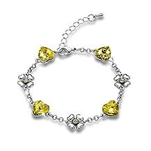 Gimuchy Heart Shape Swarovski Elements Crystal Bracelet for Party Birthday Gift Girlfriend 034