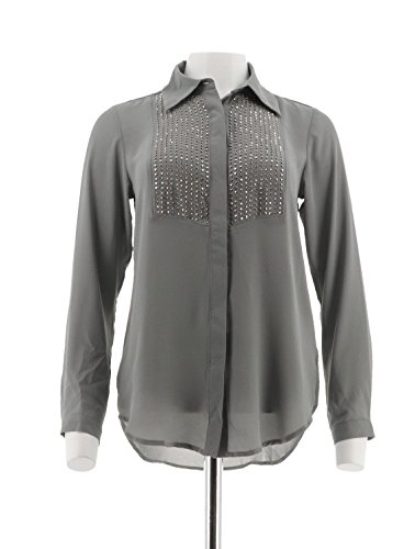 Tuxedo Front Blouse - Joan Rivers Tuxedo Blouse Embellished Front Long Sleeves Grey XXS # A284456