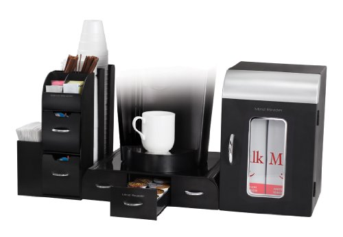 Mind Reader Breakroom 3-Piece Mini Fridge and Coffee Station Set, Black