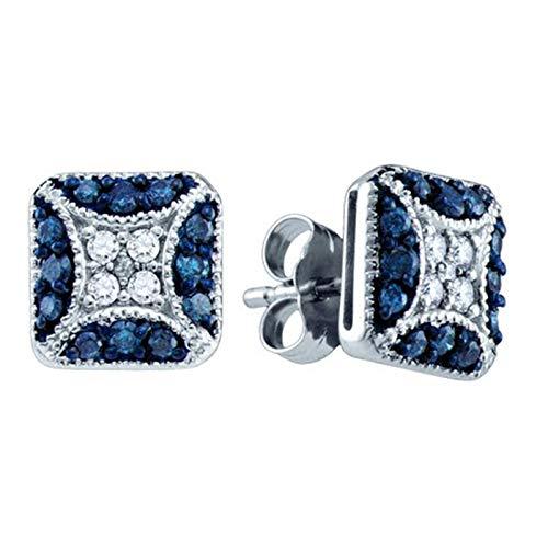 (Aienid 10K White Gold 0.50Ct Blue Diamond Earrings for Women)
