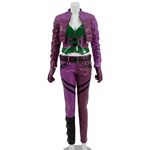 Women's Purple PU Leather Halloween Costumes Sexy Harly Full Set Cosplay for Joker