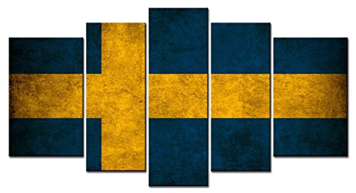 Swedish Flag Framed (Canvas Print Wall Art Painting - 5 sets pictures of Swedish Flag Paintings - The Picture For Living Room Decoration,City Pictures Photo Prints On Canvas)