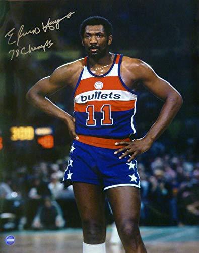 (Elvin Hayes Autographed Washington Bullets 16x20 Photo w/78 Champs)