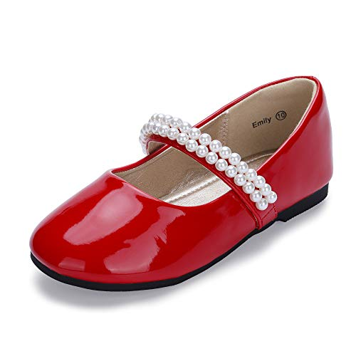 Hehainom Toddler/Little Kid Girl's Emily Mary Jane Ballerina Dress Flats Pearls Slip On School Uniform Shoes (Red Patent, 13 M US Little Kid) ()