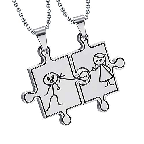 Anniversary Keepsake Tile - BY Couple Necklace Manga Tiles Pendant Engraving Service Stainless Steel Cute Jewelry for Girlfriend Boyfriend