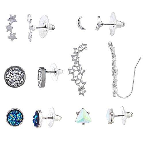 Lux Accessories Silvertone Star Moon Celestial Ear Creeper Multi Earring Set 6PC