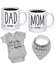 """Pregnancy Gift Est 2022 - New Mommy and Daddy Est 2022 11 oz Mug Set with""""and So The Adventure Begins"""" Romper (0-3 Months) - Top Mom and Dad Gift Set for New and Expecting Parents to Be - Baby Shower"""