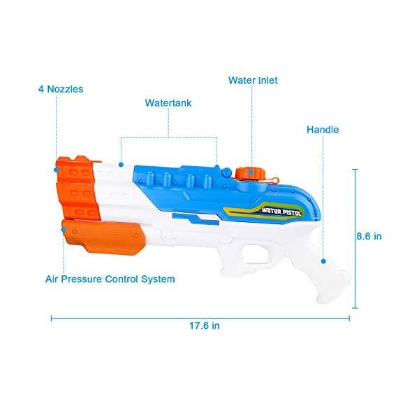 balnore Giocattoli Pistole ad Acqua, capacità 1200ml, Distanza del Getto d'Acqua Fino a 12 m, Acqua Giocattolo per… 2 spesavip