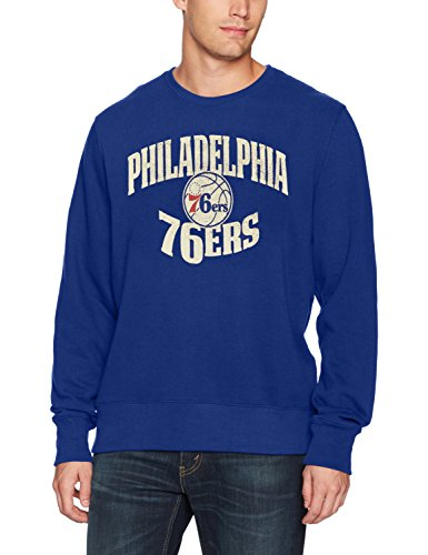 NBA Philadelphia 76ers Men's OTS Fleece Crew Distressed, Royal, Small