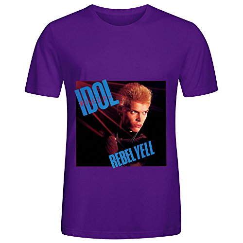 [Billy Idol Rebel Yell Funk Mens Crew Neck Customized Tee Shirts Purple] (Billy Corduroy)