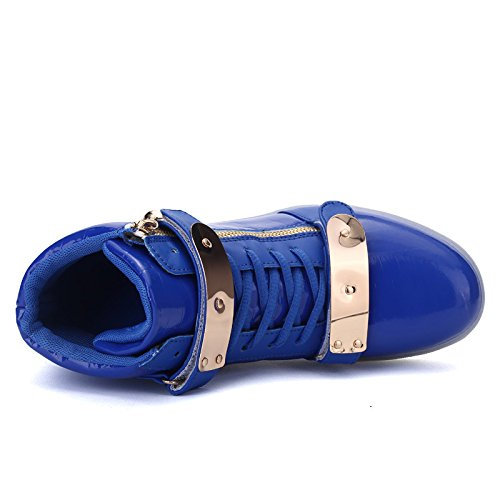 AnnabelZ LED Shoes High Top Men Women Light Up Shoes USB Charging Metal Velcro Flashing Sneakers Blue z7sLqc77zf