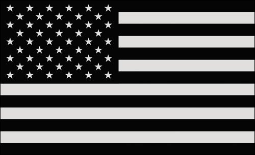 Black/Gray USA Flag Sticker (Muted Army America Military Subdued)