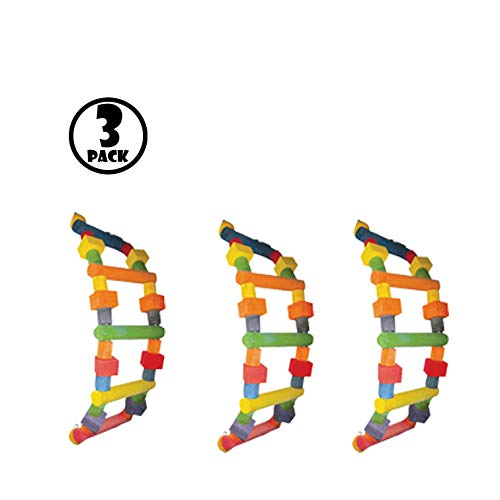 A&E Cage (Pack of 3), Assorted Happy Beaks Wood Ladder Bird Toy Small by A&E Cage
