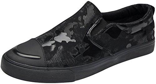 Mocassini Satuki Per Uomo, Sneakers Piatte Alla Moda, Tira Su Scarpe Casual In Tela Leggera Morbide Atletiche Nere