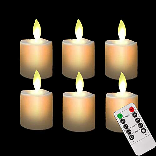 (Battery Operated Remote Led Tea Lights Flameless Fake Tealight Candles Flickering Candle Light with Timers for Wedding Decorations Outdoor Decor)