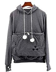 NeuFashion Pet Cat Dog Kangaroo Pouch Hoodies Pullover Sweater Pocket Hoodie Cat Dog Holder Carrier Sweatshirt Grey