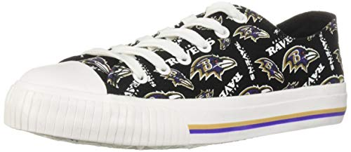 FOCO NFL Womens Low Top Repeat Print Canvas Shoe: Baltimore Ravens, -