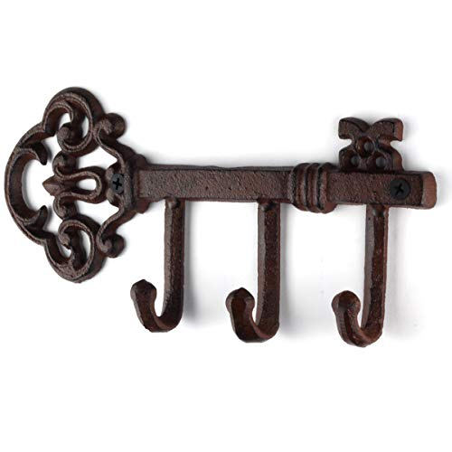 Vintage Cast Iron LULIND Wall Mounted Rustic Key Holder with 3 Hooks