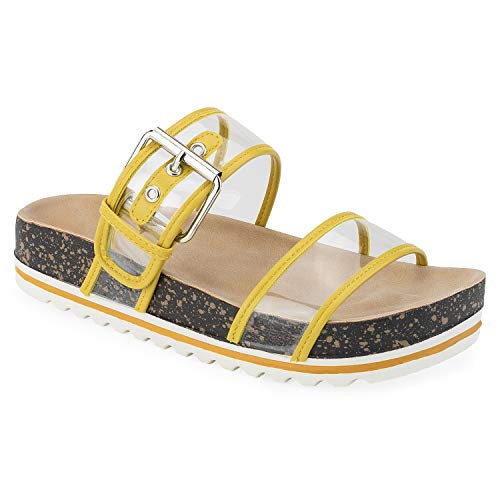 RF ROOM OF FASHION Women's Double Clear Band White Lugged Sole Footbed Slides Sandals Yellow Size.8.5