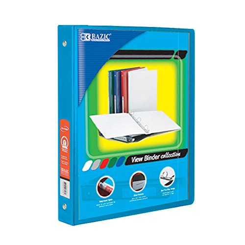 BAZIC 1/2-Inch 3-Ring View Binder with 2-Pockets, Cyan