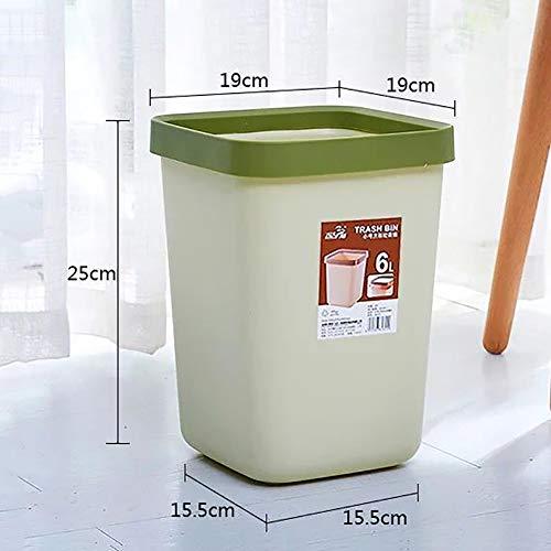 (6L Square Waste Basket, Plastic Deskside Trash Can with Pressure Ring No Lid Simple Garbage Can for Office Home Bedroom Bathroom-Green 6L)