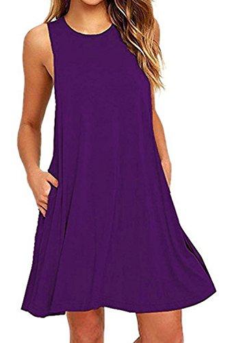 Nimpansa Mujeres Swing Casual Loose Scoop Cuello Túnica Vestido Corto con Bolsillos Purple