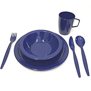 Harfield Royal Blue Camping Tableware Set – Plate, Bowl, Beaker and Cutlery – Reusable Polycarbonate Plastic