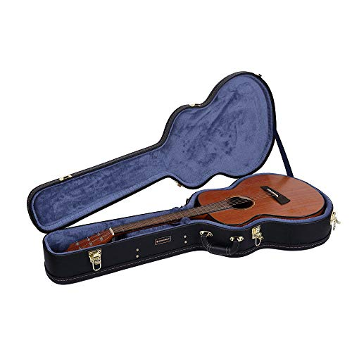 Crossrock Deluxe Wood Hard Case for OM/000 Guitar Case, Compatible to 4/4 Classical Guitar, Black(CRW600OMBK) (Best Guitar For Hard Rock)
