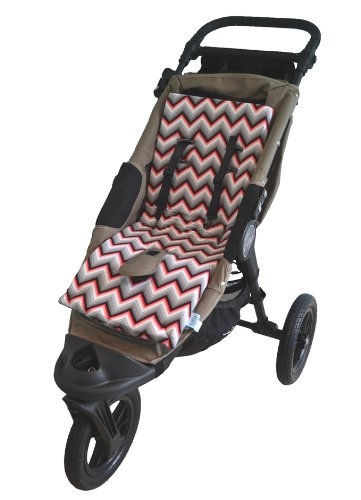 Tivoli Couture Luxury Memory Foam Stroller Liner, Chevron Red